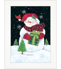 "trendy decor 4u plaid stocking hat snowman by diane kater, ready to hang framed print, white frame with iron easel, 11"" x 16"""