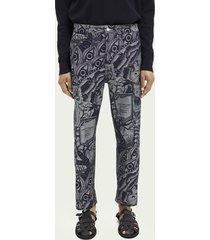 scotch & soda jacquard cotton-blend straight leg cargo trouser