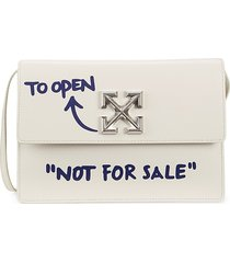 off-white women's flap-top leather crossbody bag - white