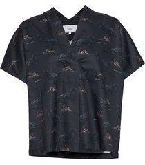 raven kaftan shirt blouses short-sleeved blauw makia