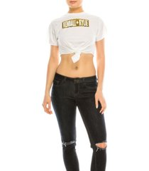 kendall + kylie crew neck tied up crop top tee