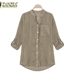 zanzea estilo coreano de las mujeres de lino camisas de verano fina con cuello en v manga larga blusa tapas ocasionales blusas tallas grandes (café ligero) -marrón