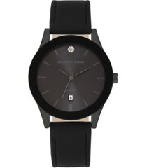 geoffrey beene black dial smooth black strap genuine diamond watch