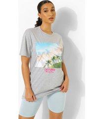 oversized california palmbomen t-shirt, grey marl
