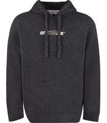 off-white hooded cotton-blend sweater