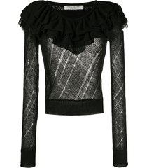 philosophy di lorenzo serafini ruffled neck sweater - black