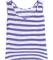 blusa mujer lineas m/s color azul, talla 20