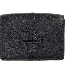 women's tory burch mini mcgraw trifold leather wallet - black