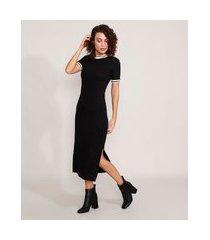 vestido canelado com fendas midi manga curta preto