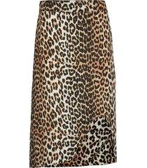 silk mix skirt knälång kjol brun ganni