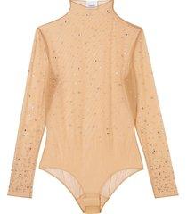 burberry crystal-embellished tulle bodysuit - neutrals