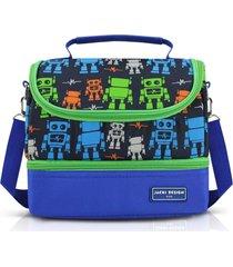 lancheira térmica com 2 compartimentos infantil robô jacki design sapeka azul