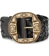 etro wide woven belt - black
