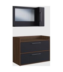 conjunto de balcáo e espelheira p/ banheiro arlo preto e madeirado escuro e estilare móveis