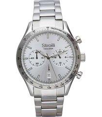 orologio cronografo cinturino e cassa in acciaio silver per uomo