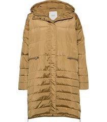 terra coat gevoerde lange jas beige masai