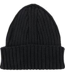 violeta e federico ribbed knit beanie - black