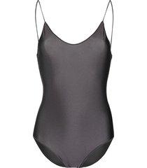 oséree lace-trim one-piece swimsuit - grey