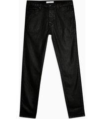 mens black coated stretch skinny jeans