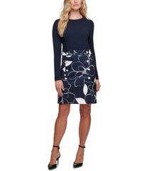 dkny printed-skirt sheath dress