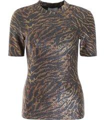 ganni lurex animalier t-shirt