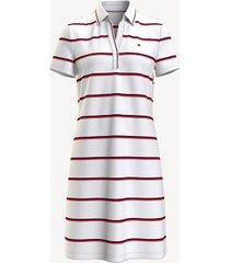tommy hilfiger women's essential stripe split-neck polo dress bright white multi - xl