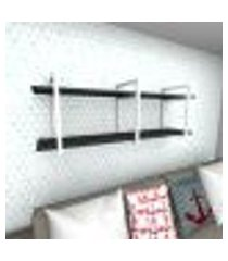 prateleira industrial para sala aço branco prateleiras 30 cm preto modelo indb05psl