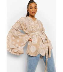 petite bandana print blouse met wijde mouwen, sand