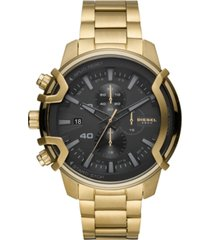 diesel men's chronograph griffed gold-tone stainless steel bracelet watch 48mm