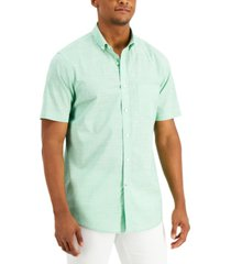 club room men's texture check stretch cotton shirt, created for macy's