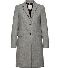th ess wool blend classic coat wollen jas lange jas grijs tommy hilfiger