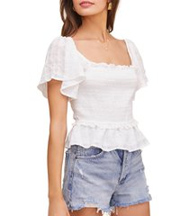women's astr the label january smocked top, size medium - white
