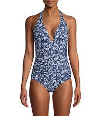 rose-print one-piece swimsuit