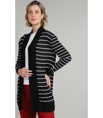 capa feminina básica listrada longa em tricô preta