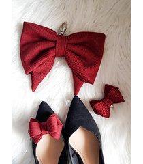 zestaw brelok-kokarda + klipsy do butów 3d/red