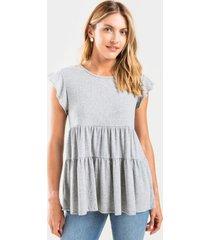 mayah tiered babydoll top - heather gray