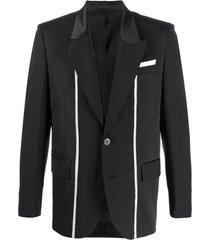 neil barrett blazer com recortes e listra - preto
