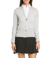 women's thom browne silk blend cardigan, size 4 us - grey