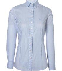 camisa dudalina manga longa tricoline fio tinto feminina (listrado, 46)