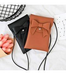 bowknot elegante 5.5 pollici in pelle pu telefono borsa tracolla borsa spalla borsas per le donne
