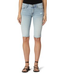 hudson jeans amelia mid-rise denim bermuda shorts