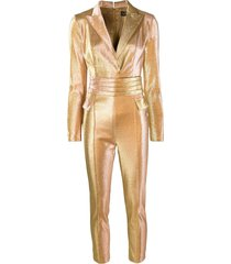 elisabetta franchi tailored metallic jumpsuit - gold