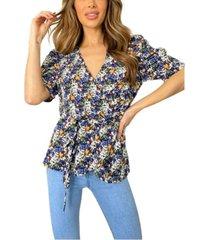 ax paris floral printed wrap blouse