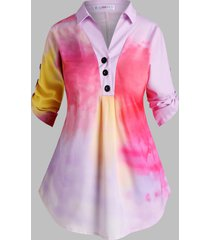 tie dye button front tab sleeve plus size top