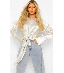 tall satijnen blouse met strik, silver