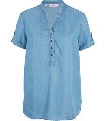 camicia di jeans in tencel™ lyocell a maniche corte (blu) - john baner jeanswear