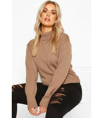 plus crop top met col, mokka