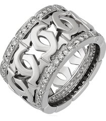 cartier 18k white gold double 'c' diamond wedding anniversary women band ring