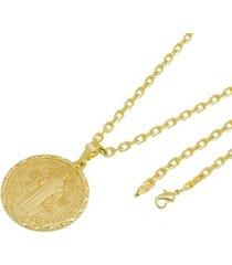 kit medalha são bento com corrente tudo jóias cartier diamantada folheado a ouro 18k