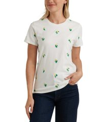 lucky brand lemon-embroidered t-shirt
